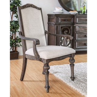 Furniture of America Dianne Scrolled Wood Inlay Ivory Fabric Rustic Natural Tone Arm Chairs (Set of 2)