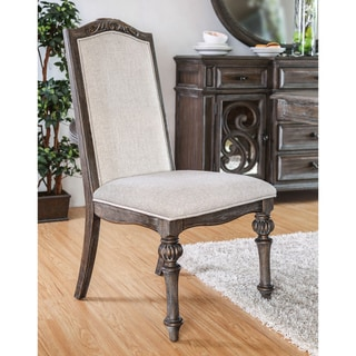 Furniture of America Cese Rustic Ivory Fabric Side Chairs Set of 2
