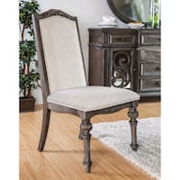 Furniture of America Dianne Scrolled Wood Inlay Ivory Fabric Rustic Natural Tone Side Chairs (Set of 2)