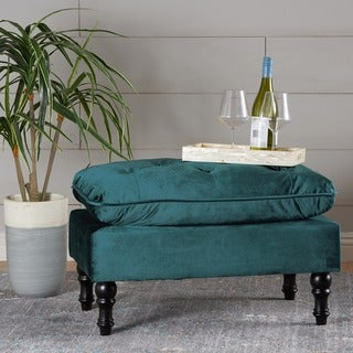 Link to Jeremy Tufted Velvet Ottoman Bench by Christopher Knight Home Similar Items in Cocktail Ottomans