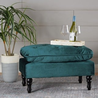 Jeremy Tufted Velvet Ottoman Bench by Christopher Knight Home