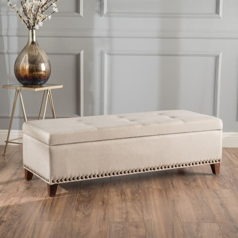 Gavin Tufted Fabric Rectangle Storage Ottoman Bench with Studs by Christopher Knight Home