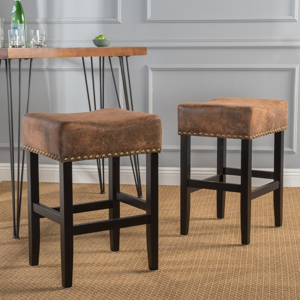 Shop Lisette 26 Inch Studded Fabric Backless Counter Stool By