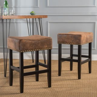 Lisette Studded Fabric Backless Counter Stool by Christopher Knight Home (Set of 2)