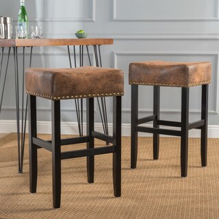 Lisette Studded Fabric Backless Barstool by Christopher Knight Home (Set of 2)