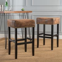 Lisette 30-inch Studded Fabric Backless Barstool by Christopher Knight Home (Set of 2)