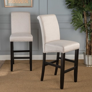 Lisette 30-inch Studded Fabric Backed Barstool with Kickplate (Set of 2) by Christopher Knight Home