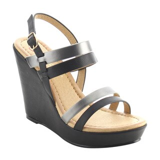 DBDK AG91 Women's Slingback Strappy Platform Buckle Wedges Sandals
