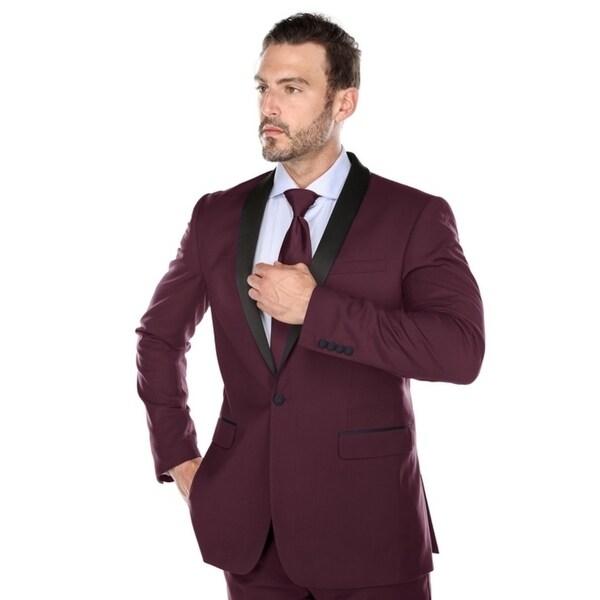 Verno Men's Burgundy Shawl Collar Tuxedo Slim Fit Suit - Free ...