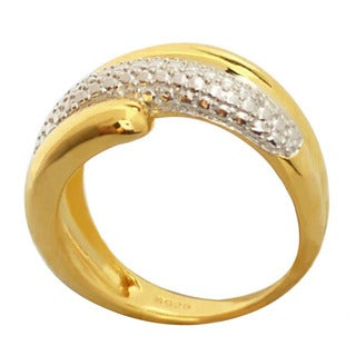 De Buman Yellow Gold Plated Sterling Silver White Diamond Ring, Size 7.5 (G-H, SI1-SI2)