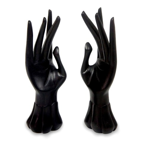 Handmade Set of Two Jempinis Wood 'Graceful Dancer in Black' Ring Holders (Indonesia)