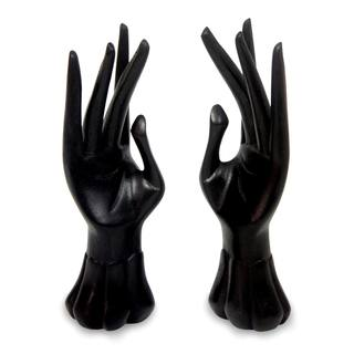 Set of Two Handcrafted Jempinis Wood 'Graceful Dancer in Black' Ring Holders (Indonesia)