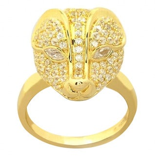 De Buman Yellow Gold Plated Sterling Silver And Cubic Zirconia Ring, Size 8.25