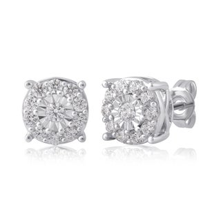 Divina Sterling Silver 3/4ct TDW Diamond Miracle palte Stud Earring (I-J/I2-I3)