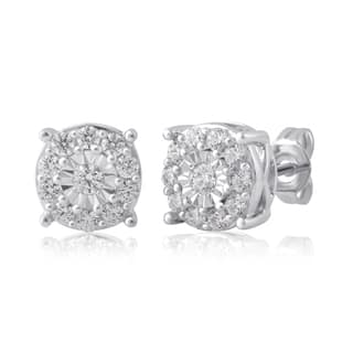 Divina Sterling Silver 3/4ct TDW Diamond Miracle palte Stud Earring (I-J/I2-I3)|https://ak1.ostkcdn.com/images/products/16185629/P22558694.jpg?impolicy=medium