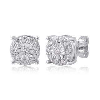 Divina Sterling Silver 3 4ct Tdw Diamond Miracle Palte Stud Earring I J I2