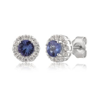 Divina Sterling Silver 1.00ct TGW Tanzanite and White Sapphire Halo Stud Earring.