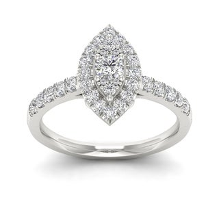 De Couer 5/8ct TDW Diamond Marquise Shape Halo Ring - White