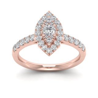 De Couer 5/8ct TDW Diamond Marquise Shape Halo Ring - Pink