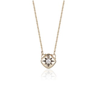 Diamond Cushion Necklace in 14k Yellow Gold (0.10cts, H-I I1)