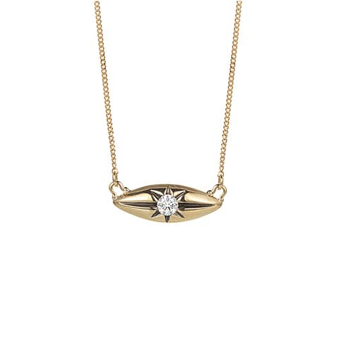 Diamond Marquise Station Necklace in 14k Yellow Gold (0.10cts)