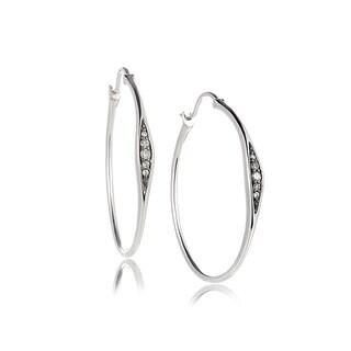 Diamond Hoop Earrings in 14k White Gold (1/10cts)