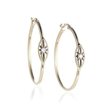 Diamond Hoop Earrings in 14k Yellow Gold (0.08cts)