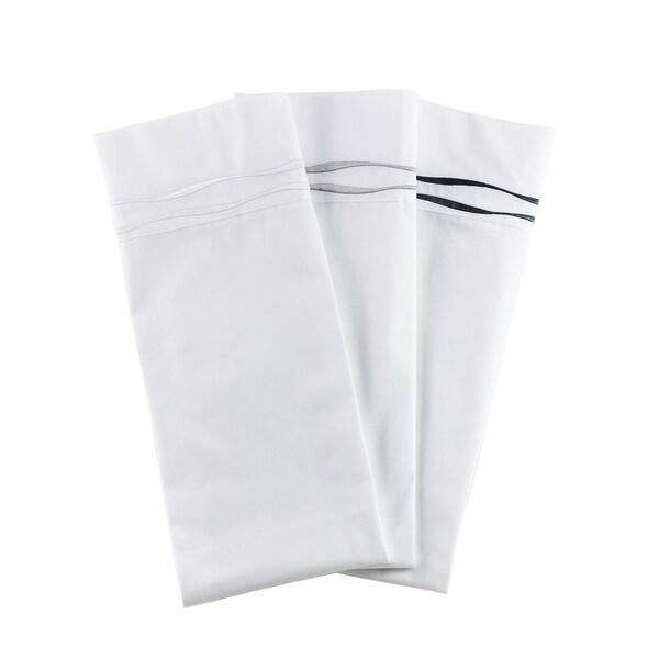Percale Cotton Wavy Stripe Embroidered Crisp Sheet Set