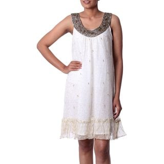 Handcrafted Viscose Beaded 'Golden' A-line Dress (India)