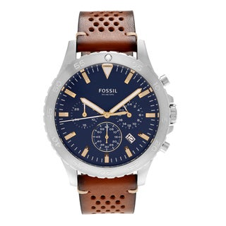 Fossil Men's CH3077 'Crewmaster' Stainless Steel Blue Chronograph Dial Leather Strap Watch
