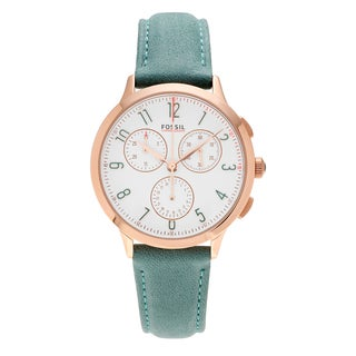 Fossil Women's CH3089 'Abilene' Rose Goldtone Stainless Steel Chronograph Dial Teal Leather Strap Watch