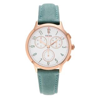 Fossil Women's CH3089 'Abilene' Rose Goldtone Stainless Steel Chronograph Dial Teal Leather Strap Watch|https://ak1.ostkcdn.com/images/products/16196916/P22568866.jpg?impolicy=medium