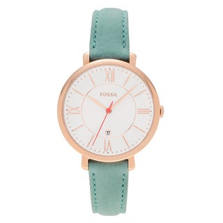 Fossil Women's ES4149 'Jacqueline' Rose Goldtone Stainless Steel Teal Leather Strap Watch