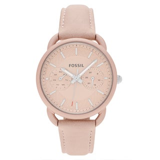 Fossil Women's ES4174 'Tailor' Blush-tone Stainless Steel Multifunction Dial Leather Strap Watch