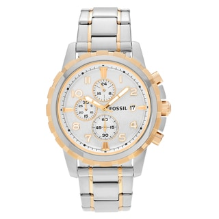 Fossil Men's FS4795 'Dean' Two Tone Stainless Steel Chronograph Dial Link Bracelet Watch