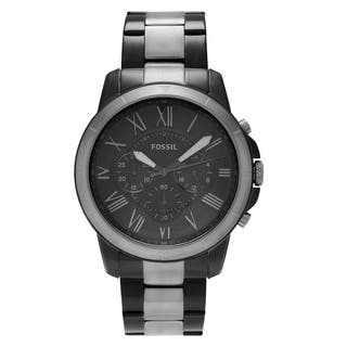 Fossil Men's FS5269 'Grant' Two Tone Stainless Steel Chronograph Dial Link Bracelet Watch|https://ak1.ostkcdn.com/images/products/16196929/P22568878.jpg?impolicy=medium