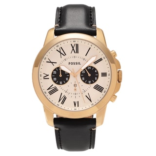Fossil Men's FS5272 'Grant' Goldtone Stainless Steel Chronograph Dial Leather Strap Watch