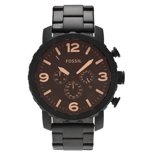 Fossil Men's JR1356 'Nate' Black Stainless Steel Chronograph Dial Link Bracelet Watch