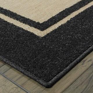 StyleHaven Borders Sand/ Charcoal Indoor-Outdoor Area Rug (7'10x10'10) (As Is Item)