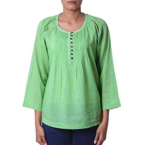 Handcrafted Cotton Voile 'Mandala Green' Tunic (India)