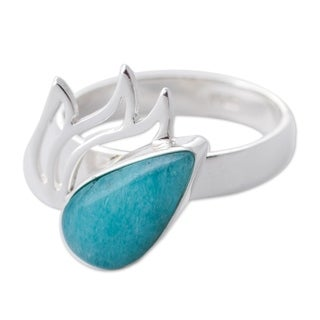 Handcrafted Sterling Silver 'Flaming Drop' Amazonite Ring (Peru)