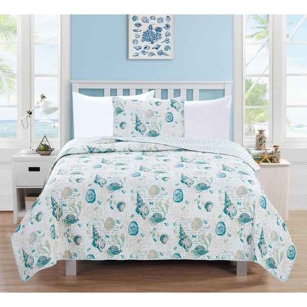 Home Fashion Designs Westsands Collection 3-Piece Coastal Theme Quilt Set