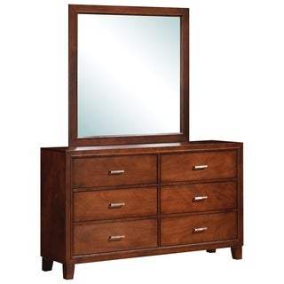 lyke home cherry wood and veneer 6drawer dresser and mirror set