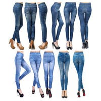 Vecceli Italy Women's Sexy Slim Stretch Denim Printed Jeggings