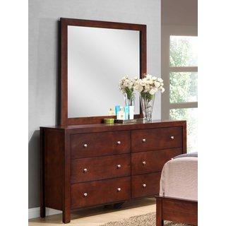 LYKE Home Cherry Finish Wood/ Veneer 6-drawer Dresser and Mirror Set