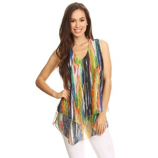 High Secret Women's Overlay Multicolor Print Sleeveless V-Neck Top