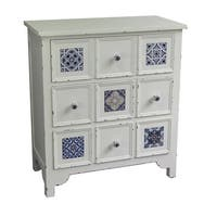White and Blue Wood Weathered 3-tier Cabinet