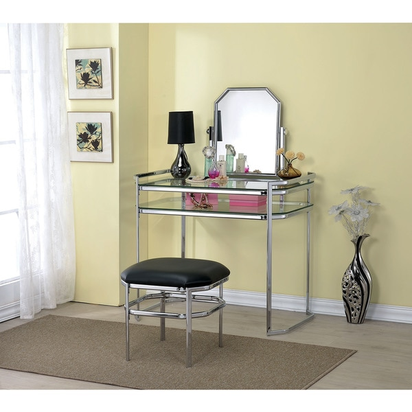 Colleen Glass and Metal Vanity Set With Mirror