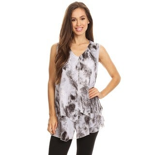 High Secret Women's Grey Tie-Dye Layered Sleeveless Blouse