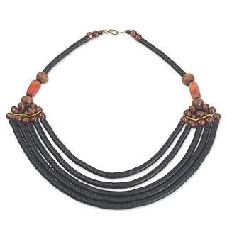 Beaded Necklace, 'Wend Panga In Black' (Ghana)